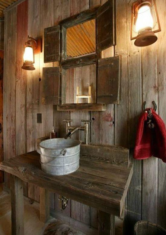 Steel Bucket Bathroom Sinks Rustic Powder Room Barn Bathroom Cabin Bathrooms