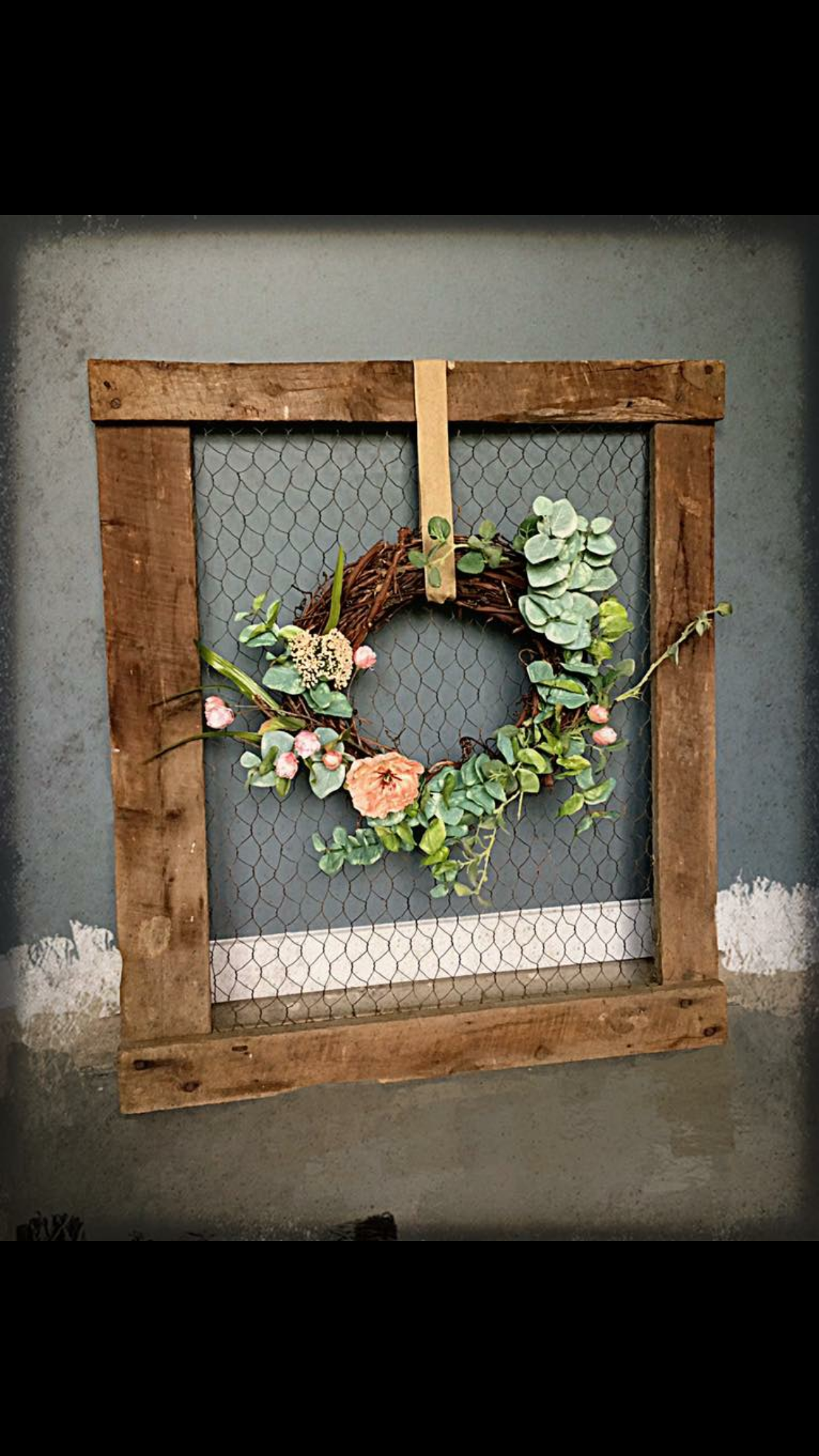 Old Chicken Wire Wooden Window Frame From Old Shed Cleaned It Up And Added A Custom Wreath For Decor