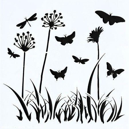 Bloemen en vlinders (we zien enkel silhouetten) Template and - butterfly template