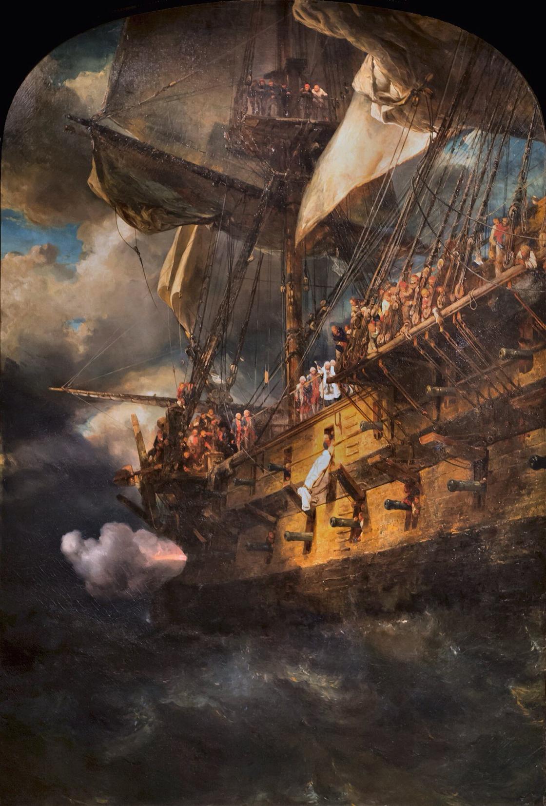 """""""Entierro en el mar de un oficial sirviendo bajo Luis XVI"""" de Eugène Louis Gabriel Isabey (1803-1886)"""