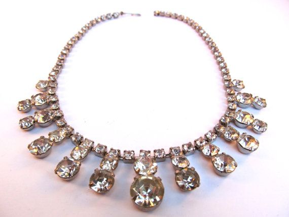 "1950's Chic Crystal Clear Rhinestone Necklace $78 ""Harry Winston, Diamonds are a Girls Best Friend"""