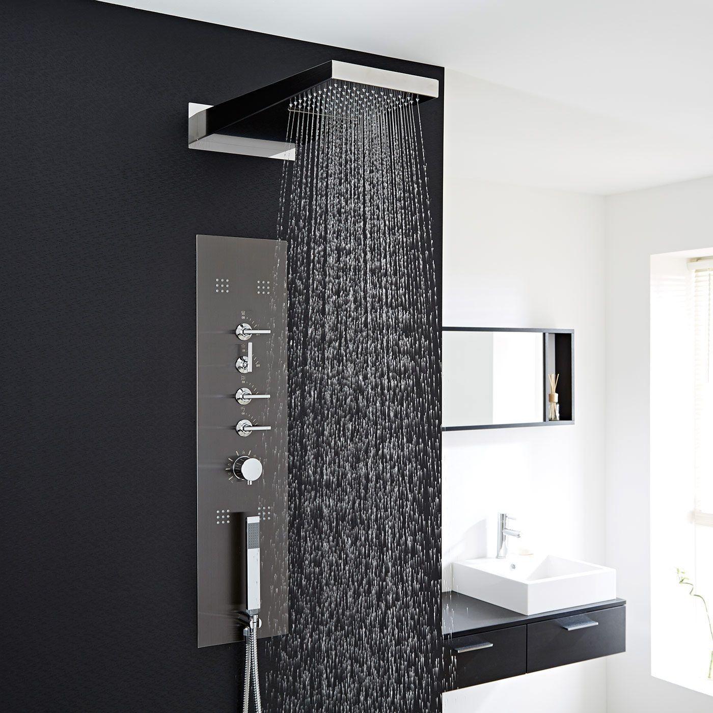Concealed Thermostatic Shower Panel With Waterfall Head In 2020 Schwalldusche Schwarz Dusche Luxusbadezimmer