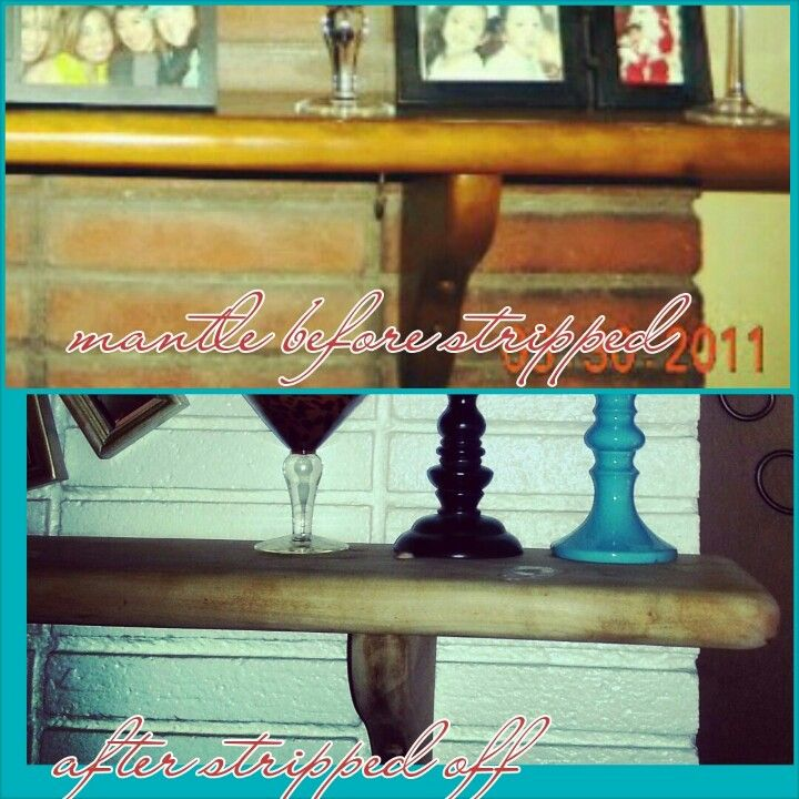 My mantle before and after..I stripped off old stain..looks ..more up to date and modern