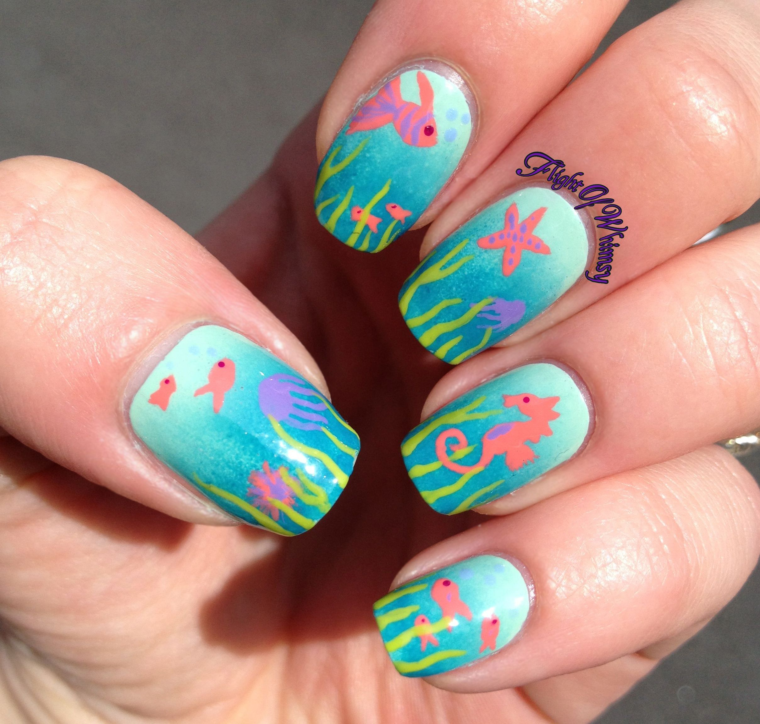Under the Sea Nail Art | Uas | Pinterest | Uas lindas ...