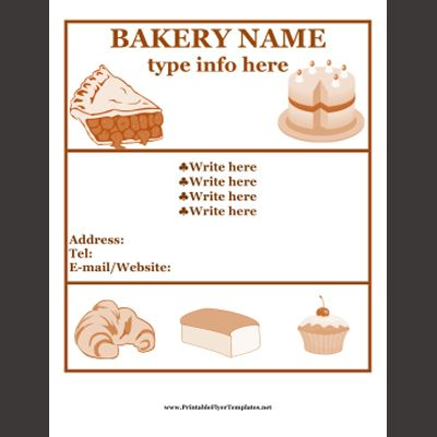 Free Templates For Flyers Free Printable Flyers Projects To - Bakery brochure template free