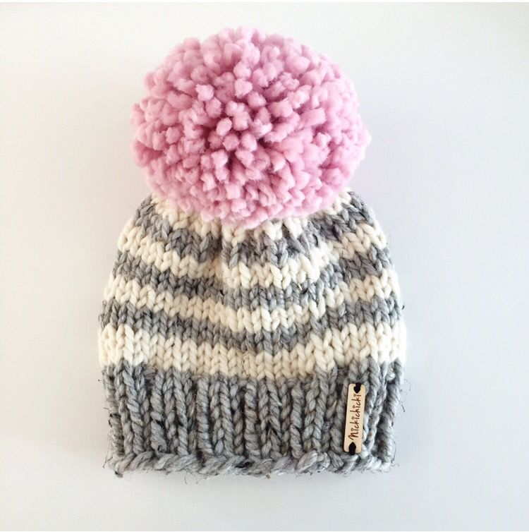 93f289a36d1f0a Giant Pom Pom beanie, chunky knit hat, handmade knitwear, pink Pom Pom,  fall fashion, winter fashion accessories, winter style