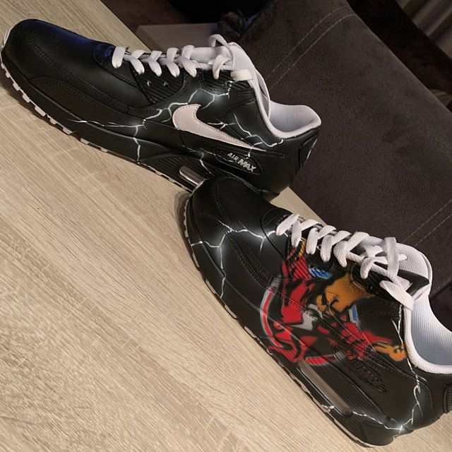 Aangepaste geschilderde Nike Air Max 90 Thunderdome techno sneaker kunst * UNIKAT * alle maten