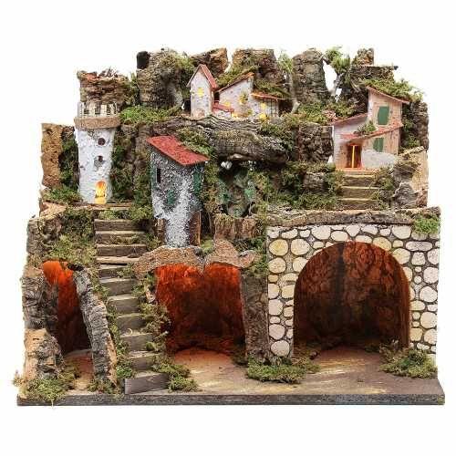 Capanna presepe con borgo 37x45x30 cm luci e cascata for Ornamenti casa