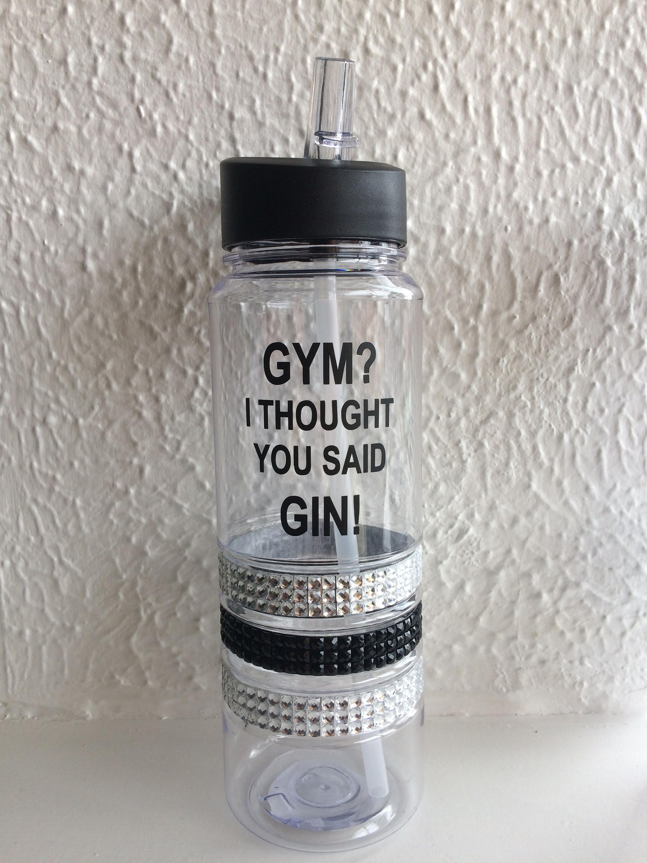 gym water bottle black diamante blue green funny quote gym gin 700ml sportsbottle motivation gym. Black Bedroom Furniture Sets. Home Design Ideas
