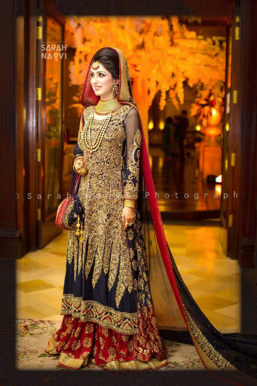 1499acb4e1 Blue, Red, and Gold Pakistani Bridal Lehenga | Butterflies of India ...