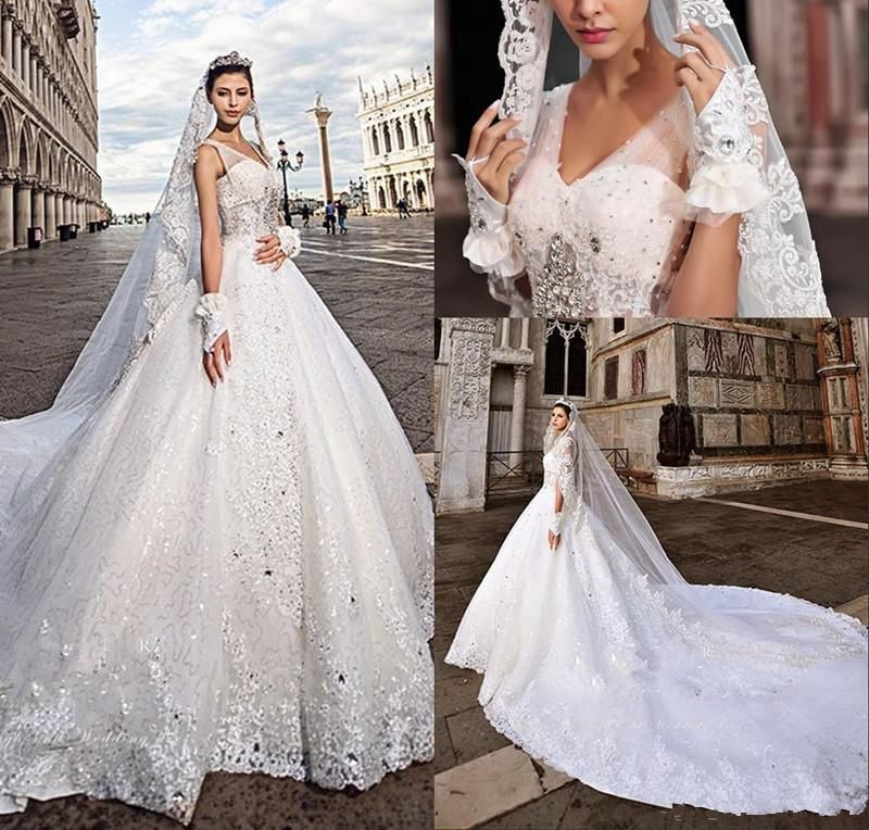 Luxury Crystal V-Neck Cathedral Train Bridal Gown Formal A-Line ...
