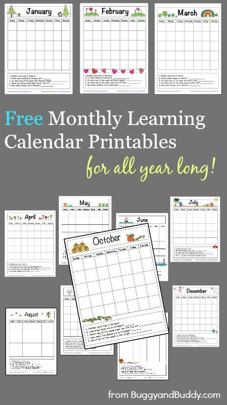 12 FREE Monthly Learning Calendar Printables ...