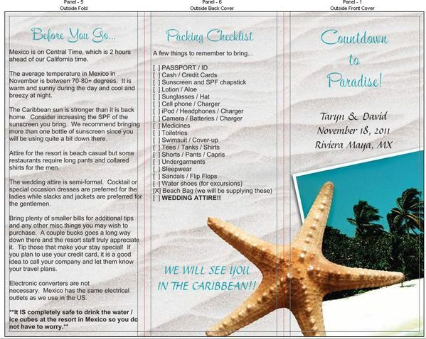 When To Send Out Wedding Invitations For Destination Wedding: Travel Brochure To Send Out Of Town Guests