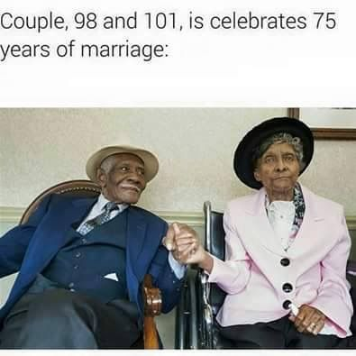 Couple 101 and 98, celebrates 75 years of marriage, amazing, in awwww!! #Marriagegoals #75yearsofmarriage #Husband #wife #photography #weddinganniversary #101yearsold #98yearsold #wow #beautiful #marriageworks #forbetterorworse #amazing #lifegoals #Godblessandkeepthem #didntgiveup #commitment #Honouringvows