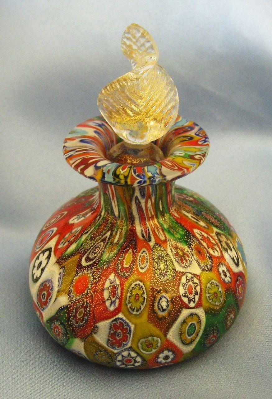 Beautiful Vintage Italian Murano Glass Millefiore Perfume Bottle, Shop Rubylane.com