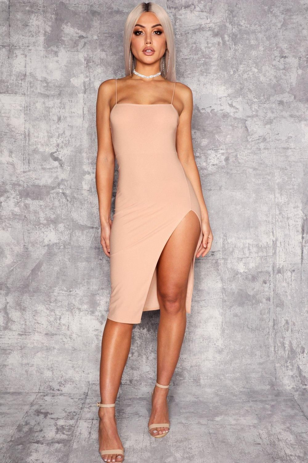 d6b3c5fa2a40 Click here to find out about the Strappy Square Neck Thigh Split Midi Dress  from Boohoo, part of our latest Party Dresses collection ready to shop  online ...