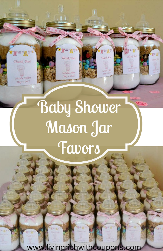 Baby Shower Mason Jar Favors   Fill With Your Favorite Cookie Recipe!