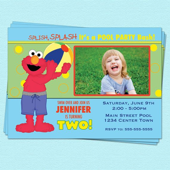 elmo birthday pool party invitations sesame street by cupcakedream, Birthday invitations