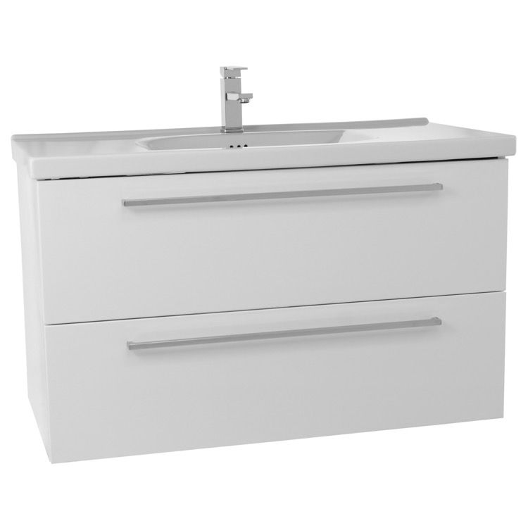 40 Inch Glossy White Wall Bathroom Vanity Set, 2 Drawers FN29
