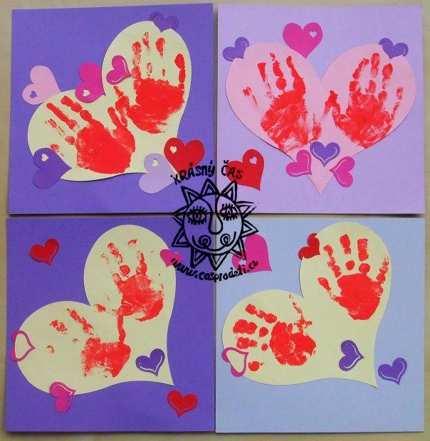 valentýn, tvoření s dětmi, prstové barvy | Barvy, Přáníčka