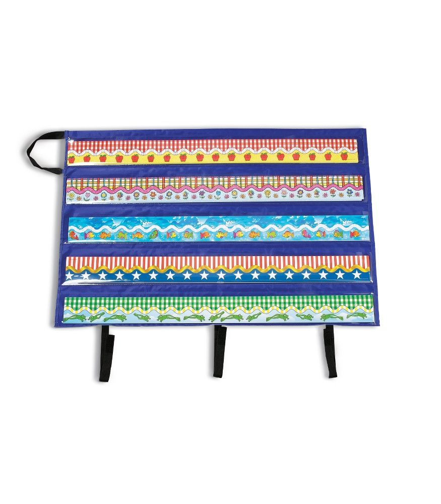 "The Border Storage Pocket Chart is the easiest way to make the most of your beautiful decorative borders. It measures approx. 41"" x 24.5"" and features:    5 clear plastic pockets which can each hold up to 24 border strips (37"" x 4"" each)   Ability to fold to 4.75"" x 38""  A hook-and-loop tape enclosure for security   Flame retardant material and durable construction  A durable handle for storage or carrying"