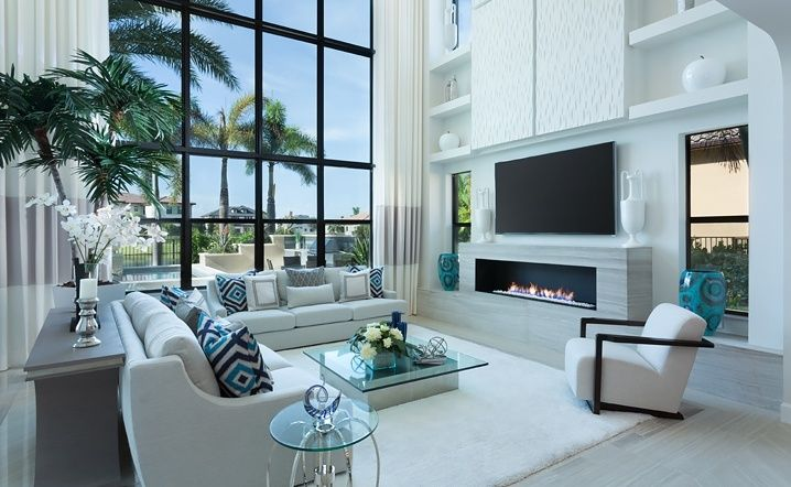 Contemporary Living Room With Sunpan Grange Coffee Table, High Ceiling, Lee  Industries 1211