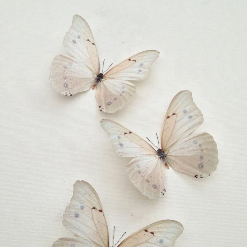 6 Luxury Ivory Cream Flying 3D Butterflies Bedroom