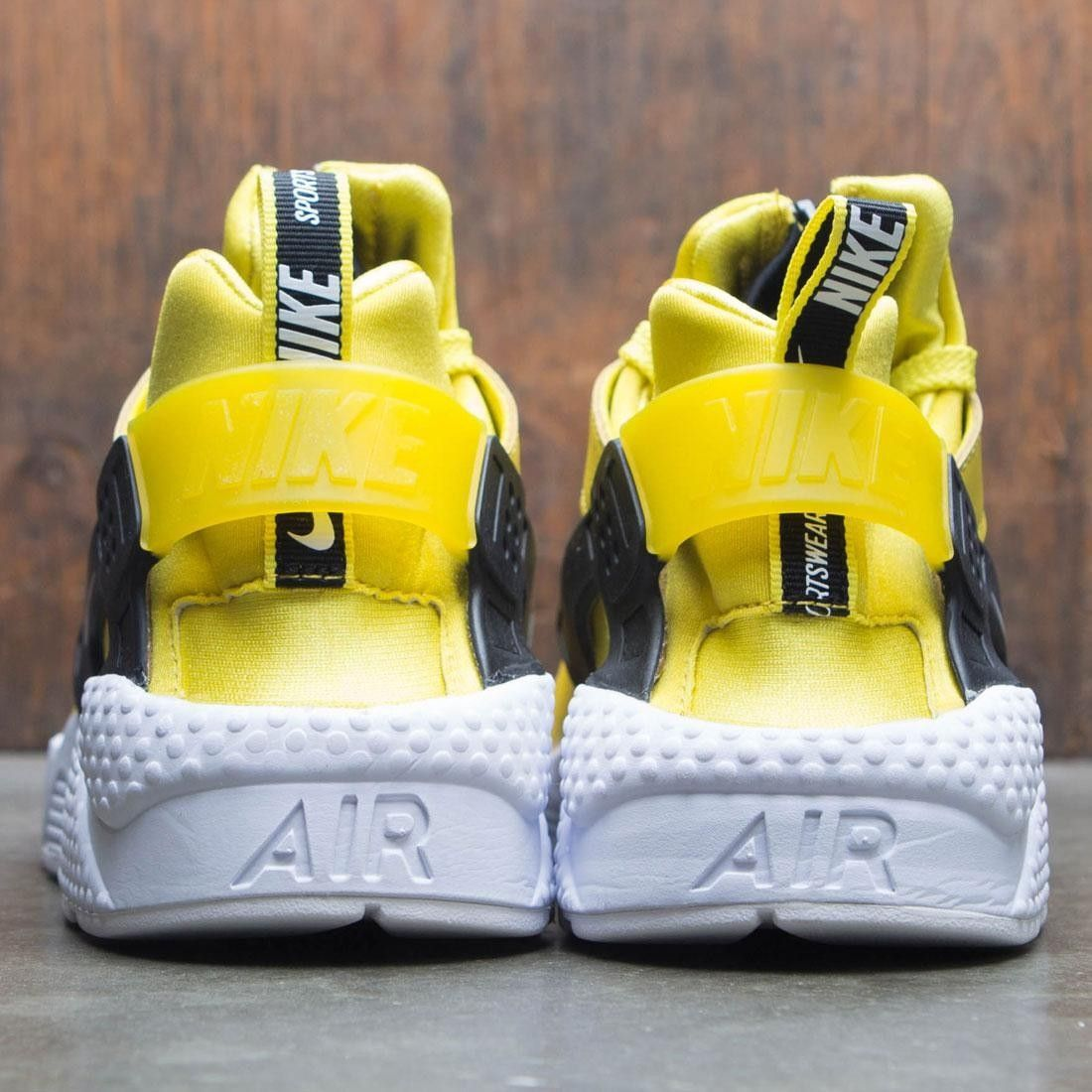 big sale c724e ccb5e nike men air huarache run premium zip bright citron white black