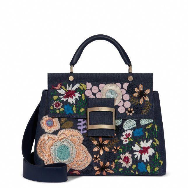 166c85dde266 ROGER VIVIER Viv  Cabas Garden Collage In Denim.  rogervivier  bags  shoulder  bags  hand bags  denim  silk  leather
