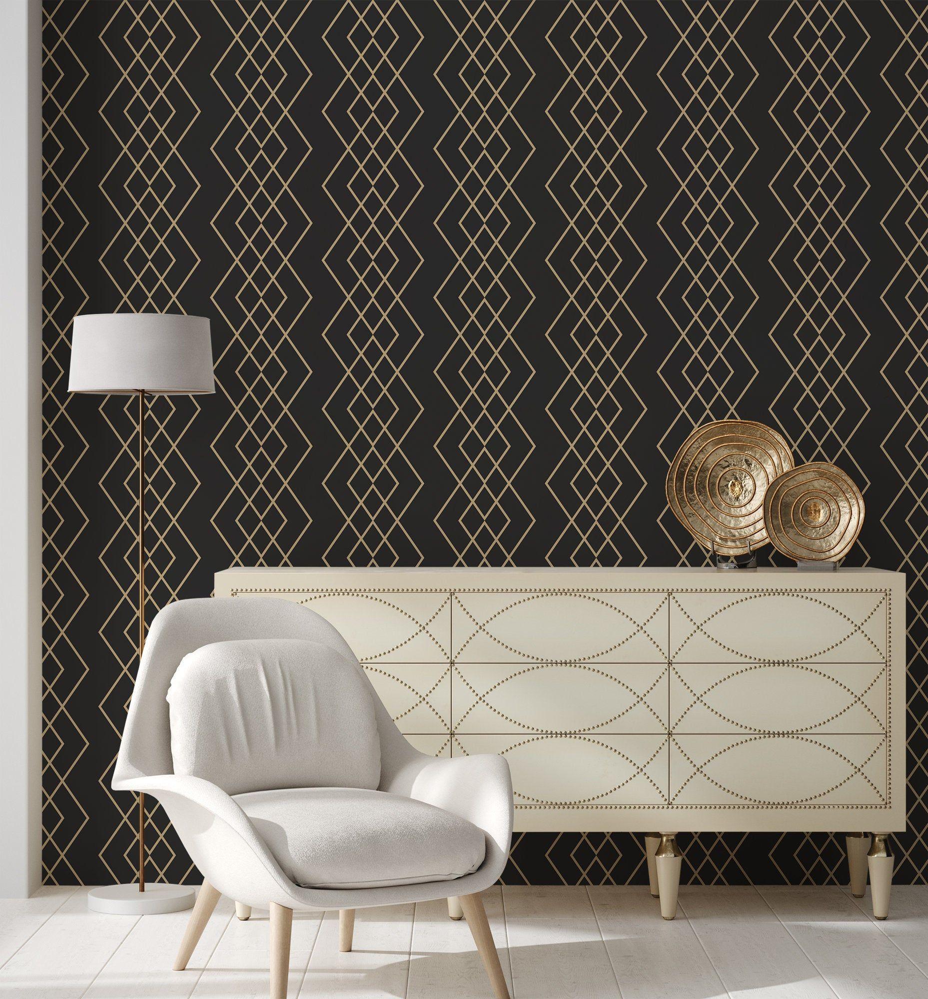 Black Wallpaper With Gold Diamond Pattern No Metallic Effects Self Adhesive Peel Stick Repositionable Removable Wallpaper Gold Wallpaper Black Wallpaper Removable Wallpaper