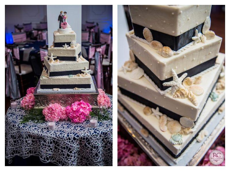 Beach Theme 4 Tier Square Wedding Cake At The Yacht Club Marina Shores