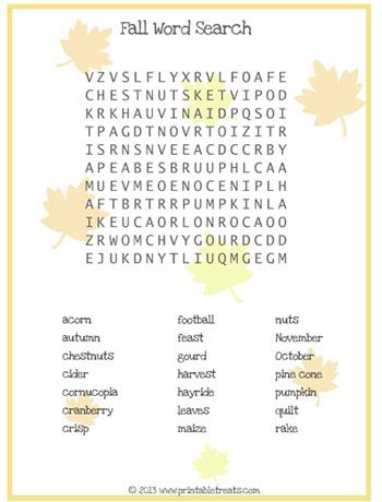 Fall Word Search for Kids Printable