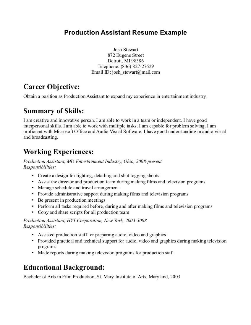 Film Industry Resume Sample Sample Resume Resume And Film On Music     Dayjob
