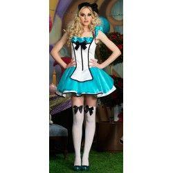 PIN UP AQUA BLUE SILKY BOW MINI DRESS LEG AVENUE ALICE IN WONDERLAND LOLITA M//L