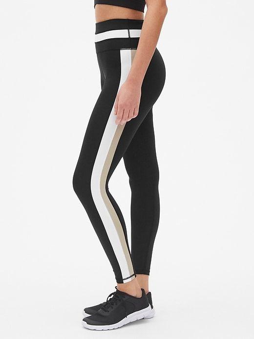 191fad42af0c1 Gap Womens Gapfit High Rise Colorblock Full Length Leggings In Sculpt  Compression True Black