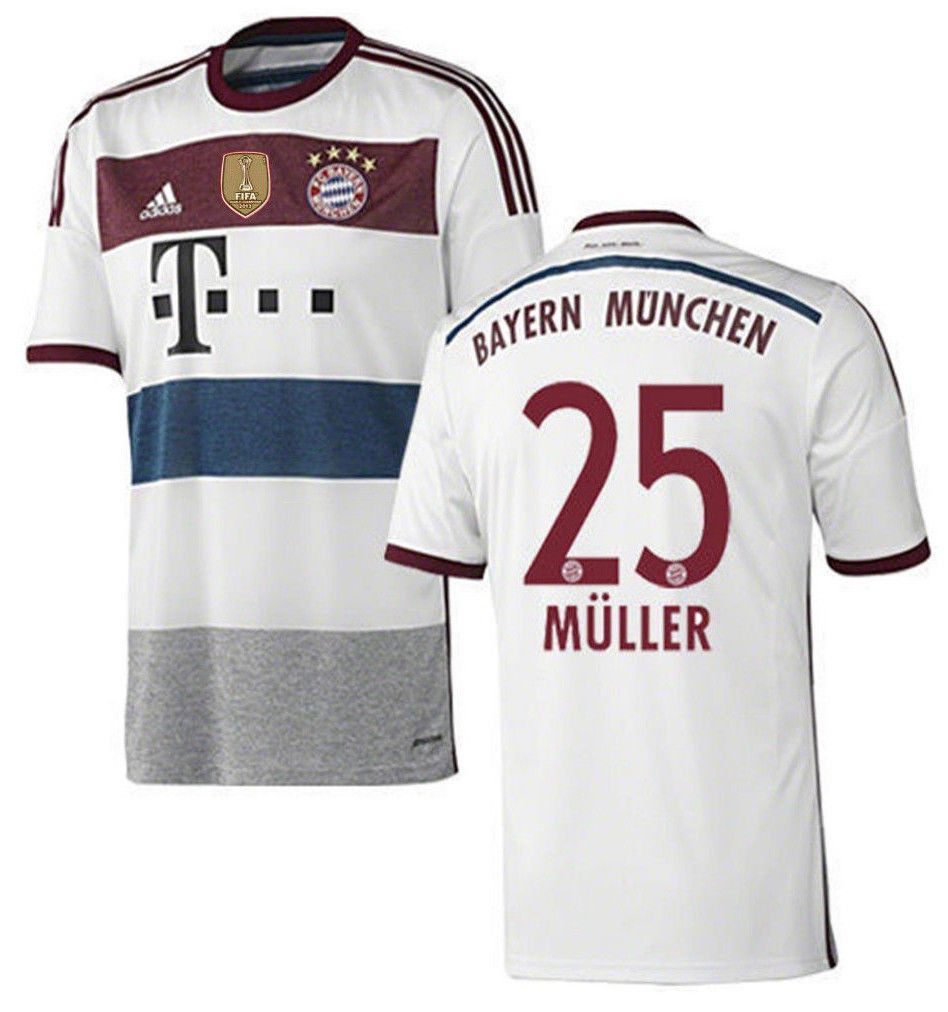 ADIDAS THOMAS MULLER BAYERN MUNICH AWAY JERSEY 2014/15 FIFA WCC PATCH.