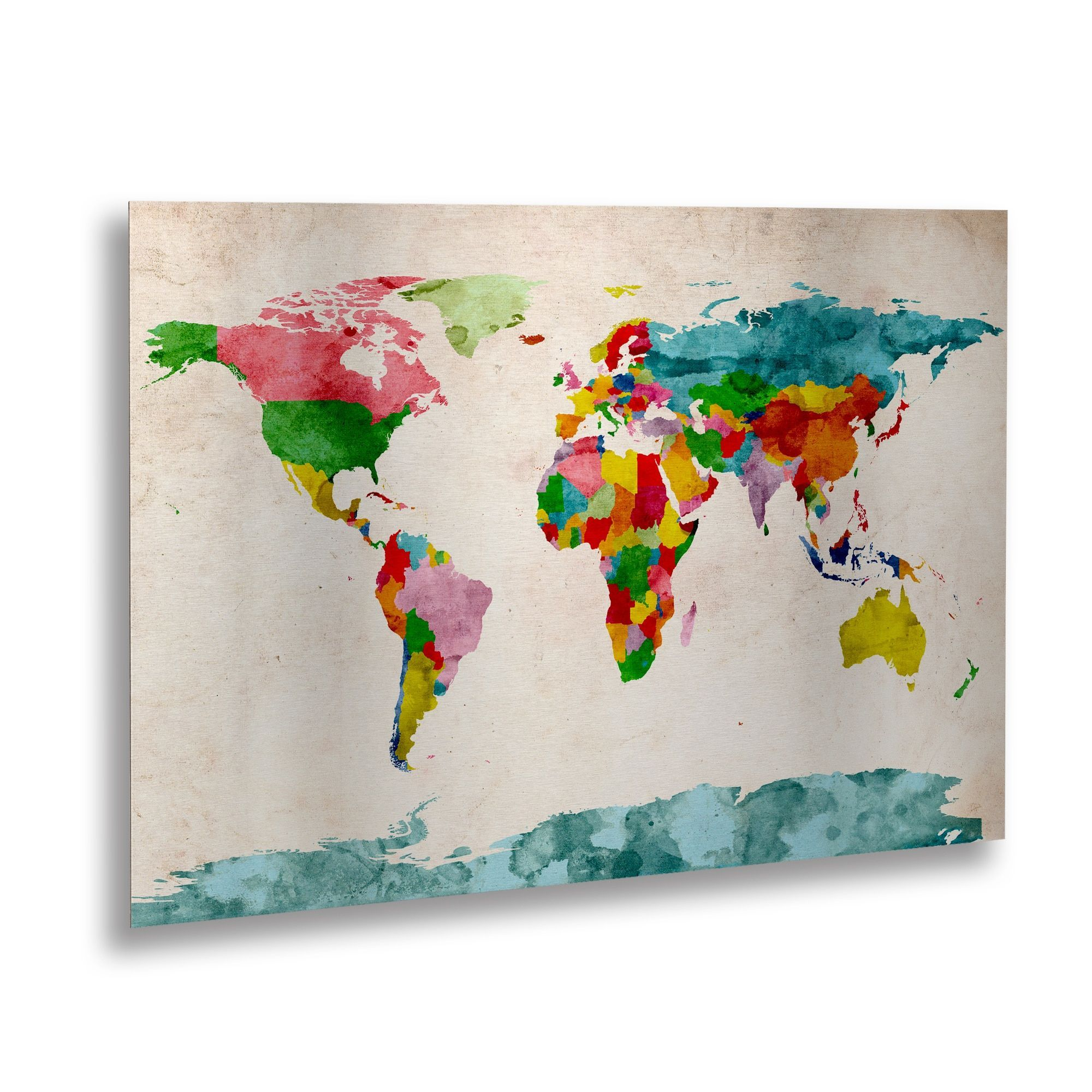 Michael tompsett watercolor world map floating brushed aluminum trademark fine art watercolor world map canvas art by michael tompsett floating brushed aluminum assorted gumiabroncs Images