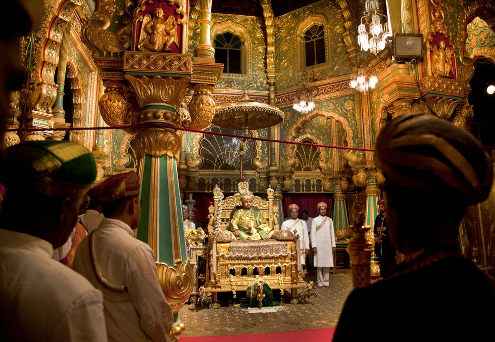 His Highness In The Durbar On Golden Throne Maharaja Of Mysore