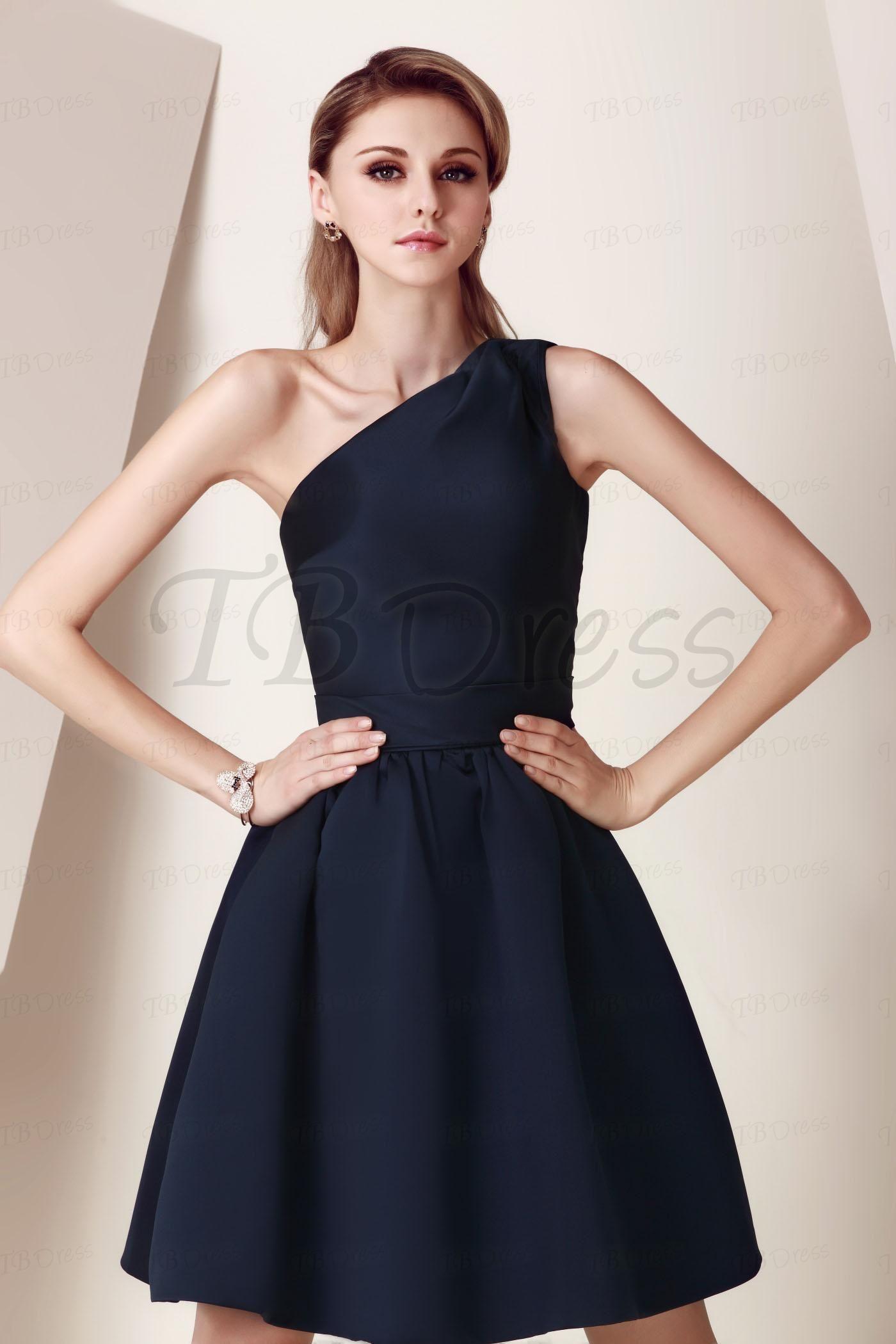Aline oneshoulder short bridesmaid dress shoulder shorts and