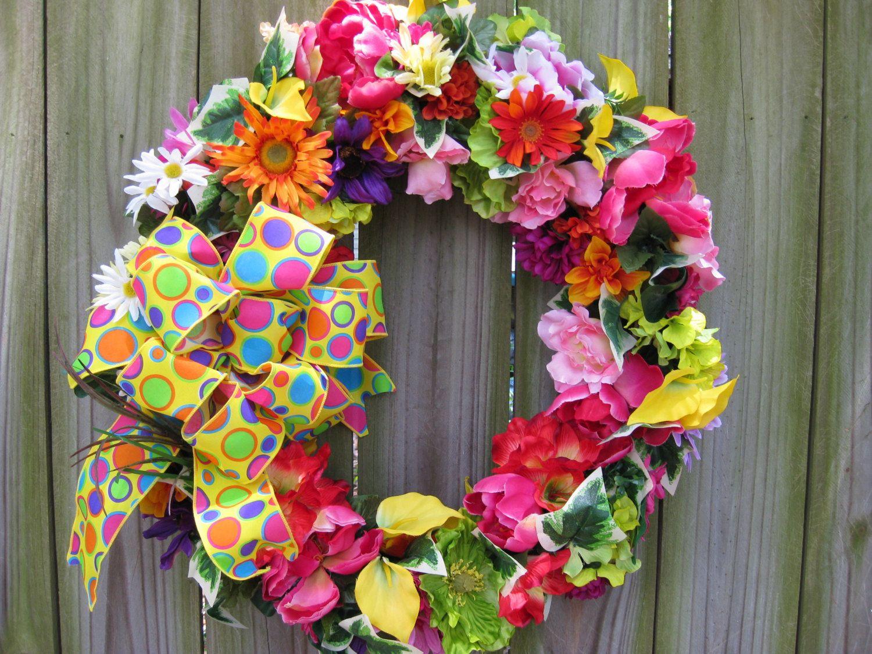 Spring wreath summer wreath front door wreath welcome wreath bright spring wreath summer wreath front door wreath welcome wreath year round rubansaba