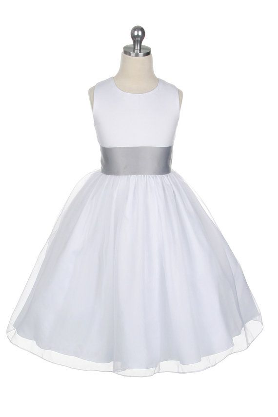 c9182f233433 White satin silver grey sash flower girl dress with tulle skirt gown ...