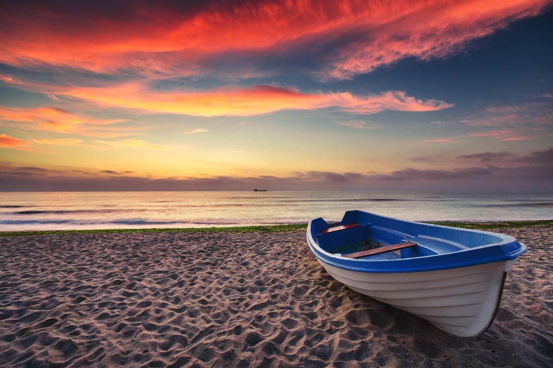 美丽的晚霞海滩景色高清图片 - 素材中国16素材网