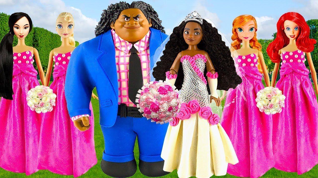 Play doh wedding disney princess Moana Maui Elsa Anna Ariel Mulan ...