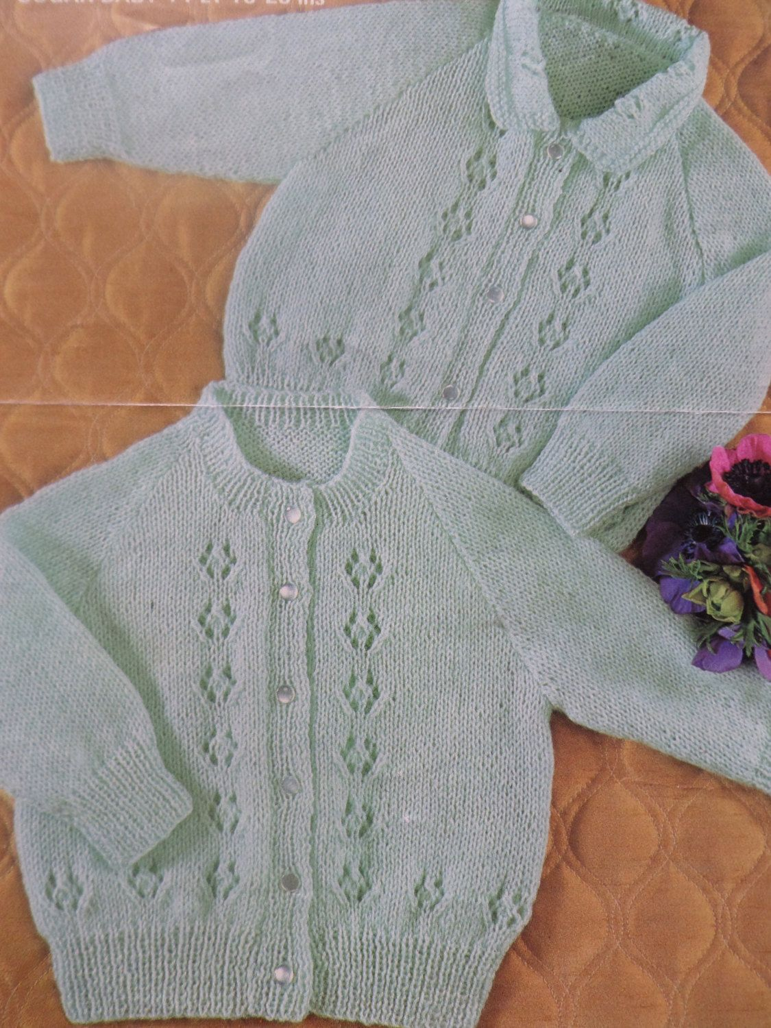 Knitting Pattern Children Baby Two Styles Of Lacy Cardigan 4 Ply 18 ...