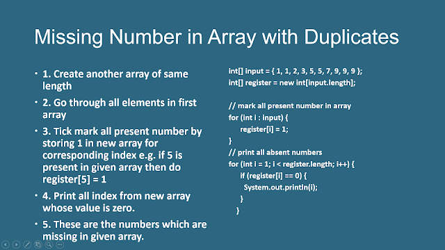 How to Find K Missing Numbers in Integer Array With