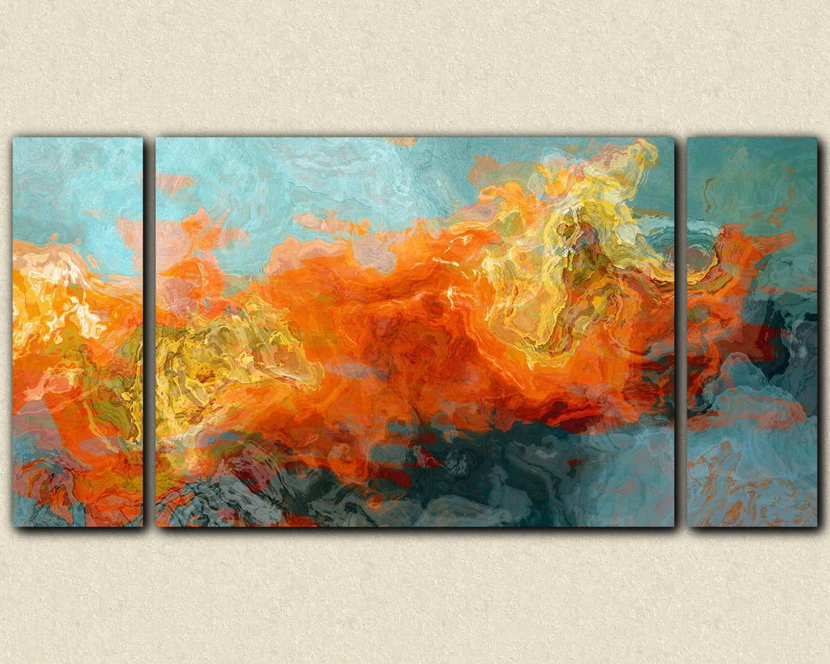 """Abstract art sofa sized triptych gallery wrap canvas print, in orange and blue, """"Electric Illusion"""", 30x60 to 40x78"""