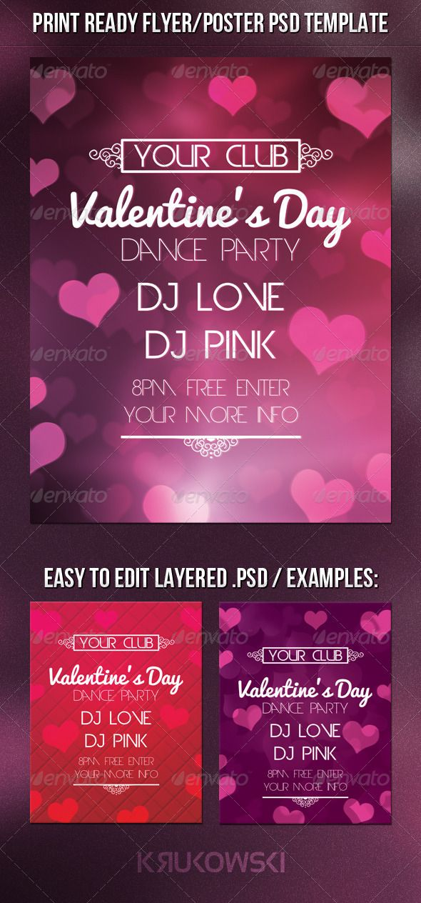 Valentines Day Flyer Photoshop Psd Holiday Decoration