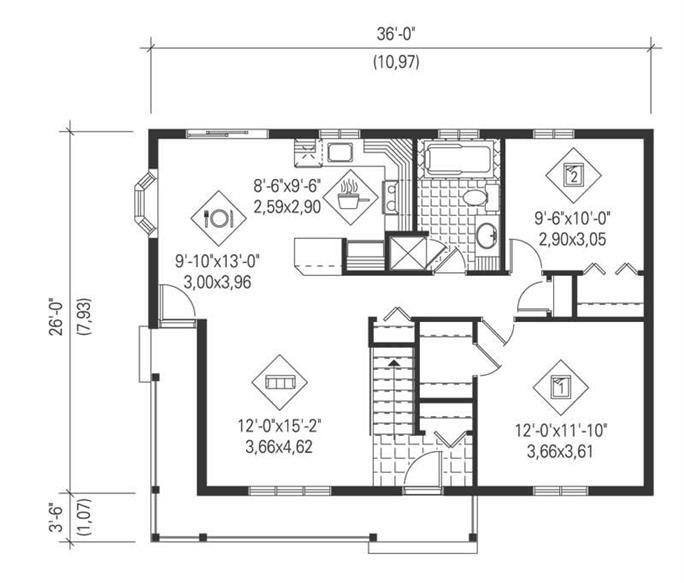 Ranch House Plan 2 Bedrms 1 Baths 894 Sq Ft 157 1475 Bungalow Floor Plans Bungalow House Plans House Plans