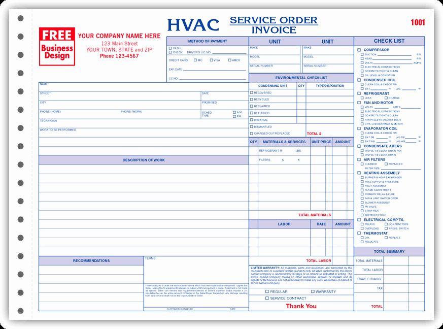Free printable hvac invoices elegant 6534 3 hvac service