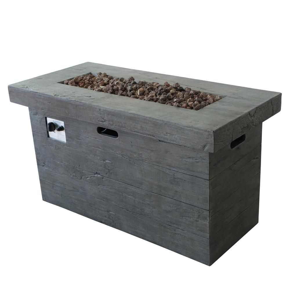 Noble House Sergio 45 In X 25 In Rectangular Mgo Propane Fire Pit In Grey 17029 The Home Depot Rectangular Fire Pit Outdoor Fire Pit Propane Fire Pit